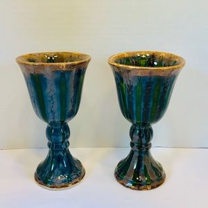 Good Earth Pottery Peacock Pattern Goblets